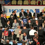 A shot of the Blues' draft table.