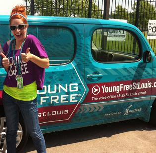 Jenn Cloud manages Vantage Credit Union's social media outreach through Young & Free, an organization put in place by the credit union to target younger clients. Cloud's car, provided by the credit union, also promotes the brand.