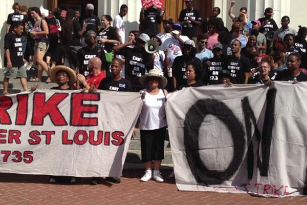 Striking fast-food workers in downtown St. Louis in August. St. Louis Can't Survive on $7.35, which helped organize that rally, was also involved in Monday's hearing at City Hall.
