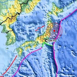 Japan earthquake map tsunami