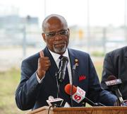 St. Louis County Executive Charlie Dooley spoke at the landing ceremony.