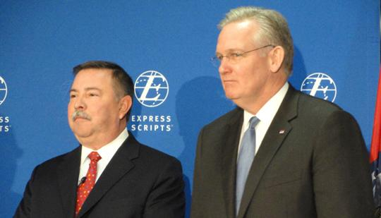 Express Scripts Chairman, President and CEO George Paz (left) and Gov. Jay Nixon (right) at a news conference Friday about the company's $70 million planned expansion in north St. Louis County.