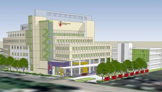 A rendering of the planned Shriners Hospital for Children