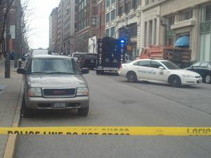 The scene of a shooting Tuesday afternoon in downtown St. Louis at the Stevens Institute of Business & Arts.