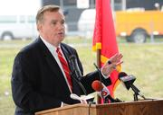 Dick Fleming, president CEO of the St. Louis Regional Growth and Chamber Association, talks at the landing ceremony.