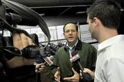 St. Louis Mayor Francis Slay talks to reporters Saturday about the storm damage at Lambert Airport.