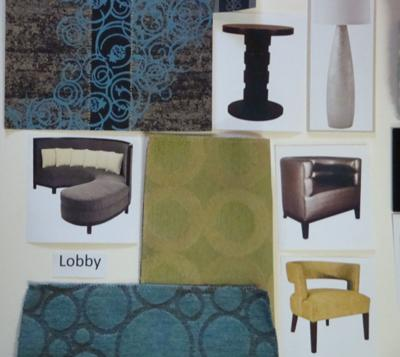 A section of a sample board shows the finishes and furniture that will be used in the renovation of the lobby and public areas of the Crowne Plaza St. Louis Airport hotel.