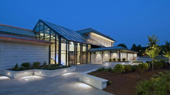 Contegra Construction Co. has renovated and expanded the Hatheway Hall theatre building on the campus of Lewis and Clark Community College in Godfrey, Ill, including this glass-enclosed lobby.