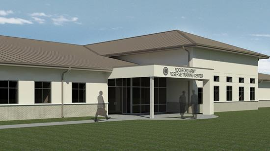 A rendering of Korte Co.'s $10.8 million Army Reserve project in Rockford, Ill.