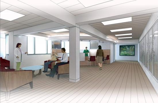 A rendering of the waiting area and registration desk.