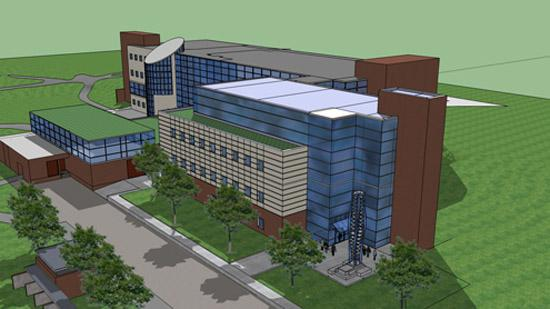 A rendering SIUE's engineering building. The building will be renovated, and a 32,000 square-foot building added. The total cost project cost is $14.2 million.
