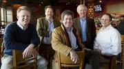 Spencer Finney, Dan Kopman, Wes Jones, Tom Schlafly and John Lemkemeier gathered at the Schlafly Bottleworks in Maplewood on Wednesday. Finney, Jones and Lemkemeier are partners in Sage Capital, which is buying a majority stake in St. Louis Brewery from co-founders and co-owners Kopman and Schlafly.