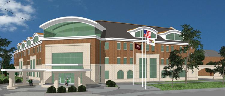 A rendering of the $30-million student services building at Southern Illinois University Carbondale