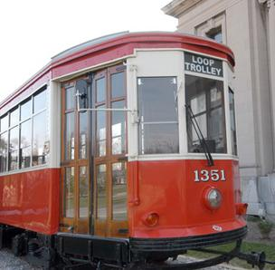 A trolley car from the 1920s is on display on the north lawn of the Missouri History Museum in Forest Park. This streetcar, along with another streetcar at Commerce Bank in the Loop, will be on display until the Loop Trolley system opens.