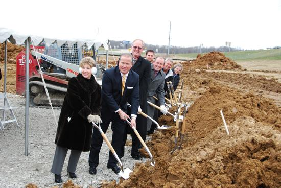 Officials attended a groundbreaking Monday for a new Mercy building in O'Fallon. From left to right, Rose Mack, O'Fallon City Council member; Donn Sorensen, president, Mercy East Region; John Hubert, president, Mercy Clinic East Region; Missouri Rep. Kurt Bahr, R-O'Fallon; Charlie Rehm, chief administrative officer, Mercy East Region; Bill Hennessy, mayor, city of O'Fallon; Sister Gayle Evans, director of mission services, Mercy East Region.
