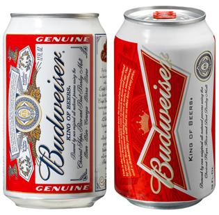 Showing Budweiser's new look, right, compared with the old, left.