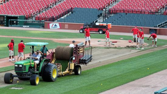 Busch Stadium ground crews begin pulling up the playing field in St. Louis on July 10 as preperations are being made for the U2 concert on July 17. The field will be replaced with new sod for the St. Louis Cardinals to play on when they return home on July 25.
