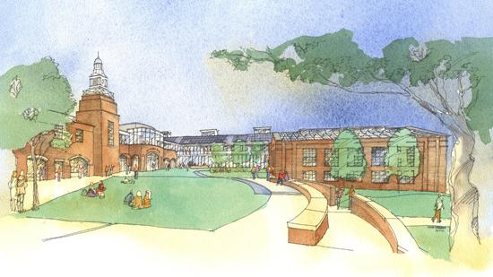 A rendering of the exterior of the proposed math and science center.