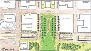 Second alternative -- includes a large park over I-70 between Market and Chestnut streets, with Memorial Drive running underneath. Entrance and exist ramps would not be changed between Interstate 44 and downtown.