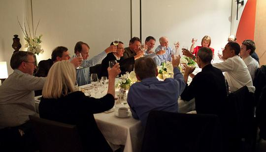 President Obama and Silicon Valley leaders toast at dinner Thursday night.