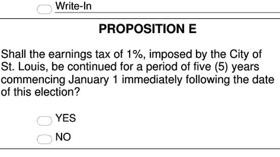 Proposition E as it appears on a sample St. Louis City ballot for today's election.