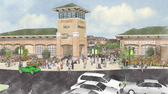 A rendering of the proposed $85 million Spirit of St. Louis Outlets in Chesterfield.