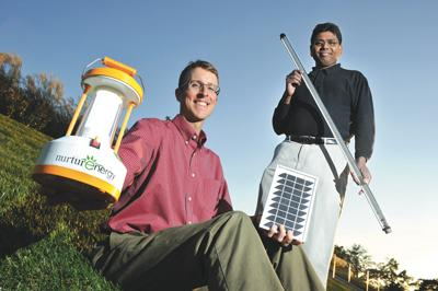 David Burgess' (left) and Sesha Madireddi's NurturEnergy uses an open-innovation process to develop energy-saving lighting and climate-control devices.