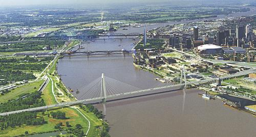 A rendering of the Mississippi River bridge