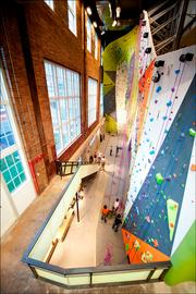 Merit Award | Interior Project: Climb So iLL at the Powerplant, St. Louis Architectural Firm: UIC – Architecture and Urbanism General Contractor: BSI Constructors Photography: A2THEB Photography  Jury comments: This project is a creative transformation of an abandoned space into a gallery-like setting, in which the climbing walls become painterly art objects. This is a nice juxtaposition of raw materials and refined details.