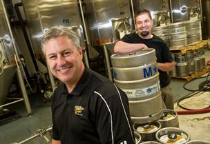 O'Fallon Brewery Owner Jim Gorczyca (left) and Brewmaster Brian Owens have tripled the brewery's production since 2009.