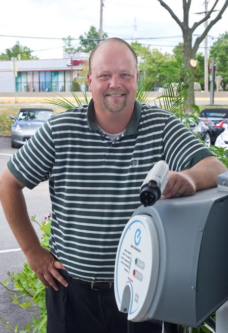 Lou Fusz Nissan's Steve Hughes hopes to sell five electric Nissan Leaf models each month.