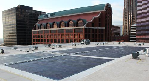 The roof of the Laurel building features 184 thin film photovoltaic solar cells that could offset up to 43,000 pounds of carbon dioxide each year.
