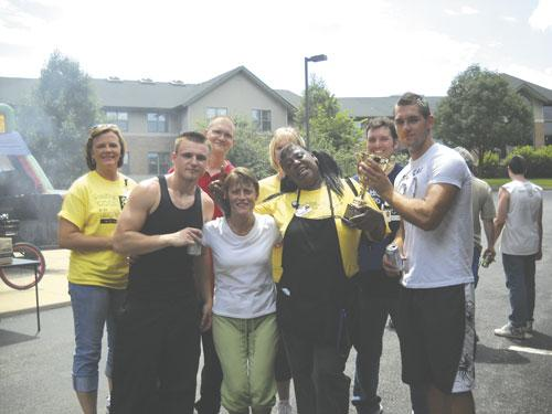 Lutheran Senior Services employees take part in a health and wellness event.