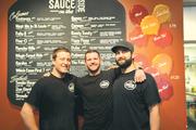 Ryan Mangialardo (left), Daniel Porzel and Brendon Maciariello opened Sauce on the Side last year.