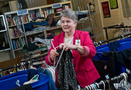 """Restore In January, Mercy expanded its recycling mission and launched its own version of a resale store. Employees donate gently-used items to the Mercy """"Restore"""" that offers various free items, including clothing for adults and children and toys, Knipe said."""