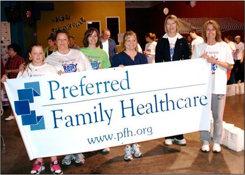 Preferred Family Healthcare employees show their support during the American Cancer Society's Relay for Life.