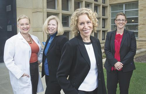 From left: Dr. Shelly Harkins, chief medical officer; Shelley Harris, chief nursing officer; President and CEO, Maryann Reese; and CFO Leslie Eckert are part of the all-female C-suite at St. Elizabeth's Hospital in Belleville.