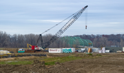 St. Louis Premium Outlets raised its site two feet and is putting up walls.