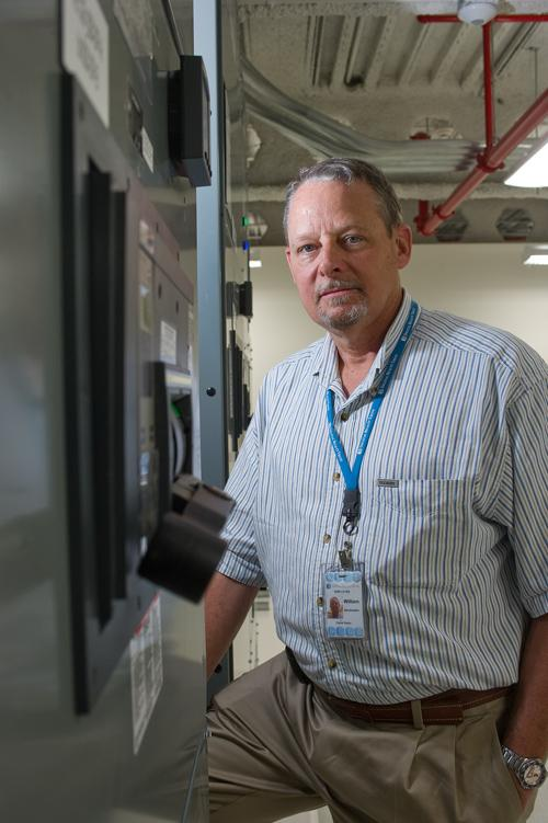 Bill Stockmann, the property manager and one of 15 local employees, oversees operations at the 210 N. Tucker Blvd. data center.
