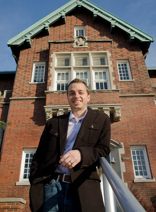 Derek Weber, president of goBRANDgo!, wants to retrofit the former Shepard Elementary school as a business incubator.
