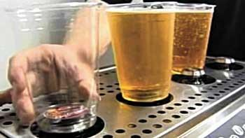 The Bottoms Up dispensers were tested at Busch Stadium last season.