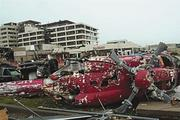 The May 22 tornado smashed a helicopter in front of St. John's Regional Medical Center.