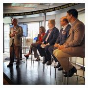 Bloomberg Washington Editor Al Hunt moderates a panel discussion at the Bloomberg Link on political advertising.