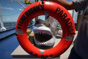 """A huge shark replica, known as """"today's catch"""" by the staff, on deck."""