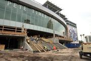The west entrance is expected to be finished Dec. 1. It will hold outdoor terraces, a club-level restaurant, a 4,000-square-foot merchandise shop and the box office.