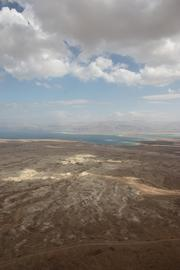 This view of sea and desert is at Masada.