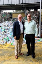 Mayor Buckhorn and Ben Ami, vice president of sales for Arrow Ecology in Yoqneam, Israel, stand in front of the sorting station.