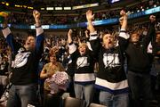 Fans cheered when the Lightning won the game.