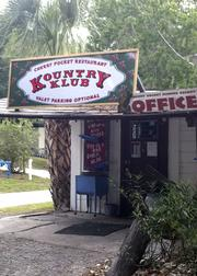 "A look at the front door of the ""Cherry Pocket Restaurant Kountry Klub"""