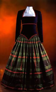 A long dress of velvet and silk for dancing at a Scottish ball, designed by Catherine Walker. Estimated at $250,000/$275,000